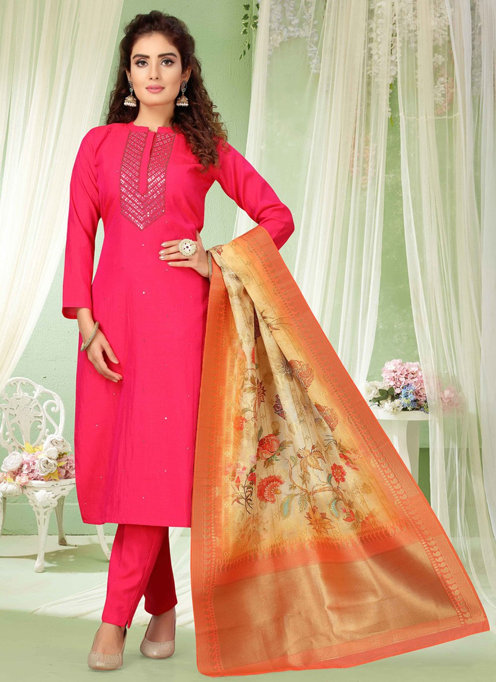 Embroidered Art Silk Pant Style Suit