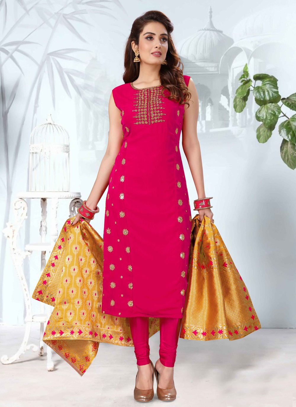Embroidered Art Silk Readymade Suit in Hot Pink