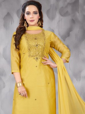Embroidered Art Silk Salwar Kameez