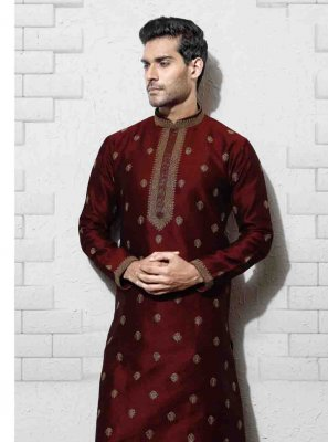 Embroidered Art Silk Sherwani in Black