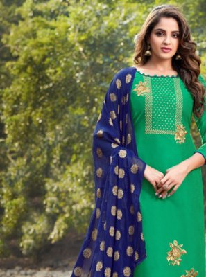 Embroidered Banarasi Silk Pant Style Suit in Green