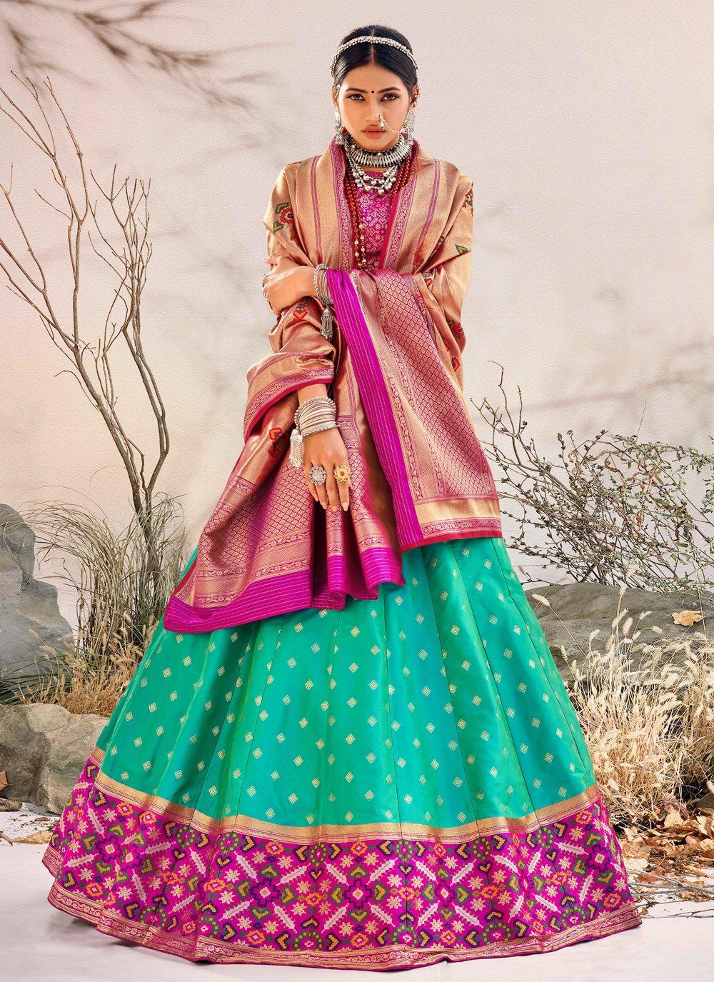 Embroidered Banarasi Silk Sea Green Lehenga Choli