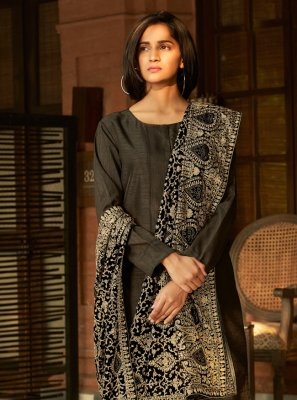 Embroidered Banglori Silk Black Designer Palazzo Suit