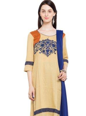 Embroidered Beige Cotton Readymade Churidar Salwar Kameez