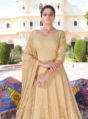 Embroidered Beige Readymade Anarkali Suit