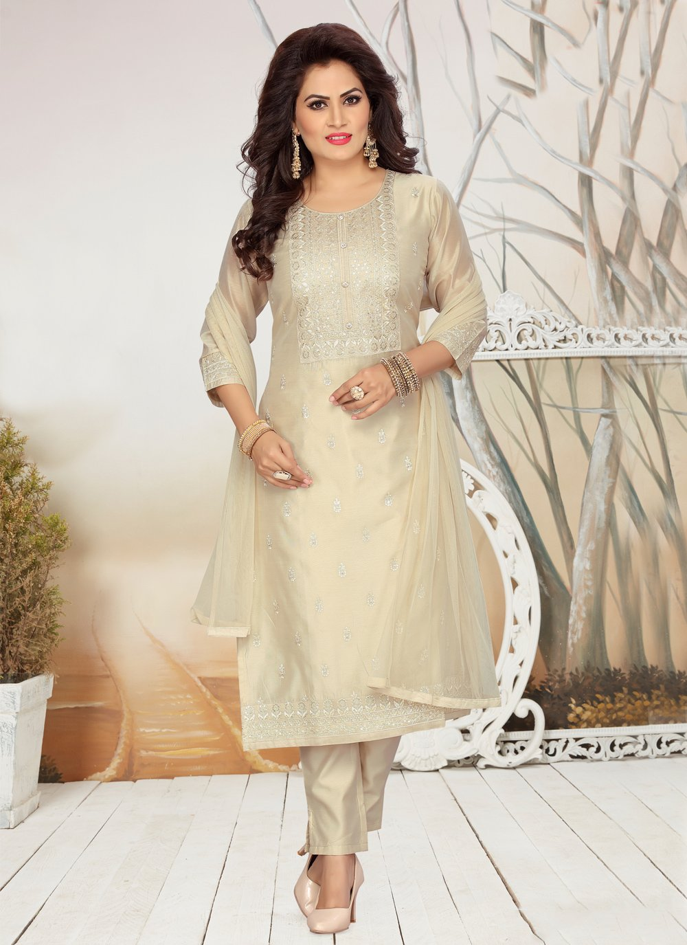 Embroidered Beige Readymade Suit