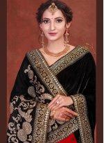 Embroidered Black and Red Designer Half N Half Saree