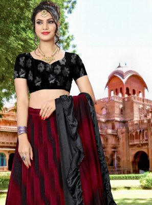 Embroidered Black and Red Lycra Lehenga Choli