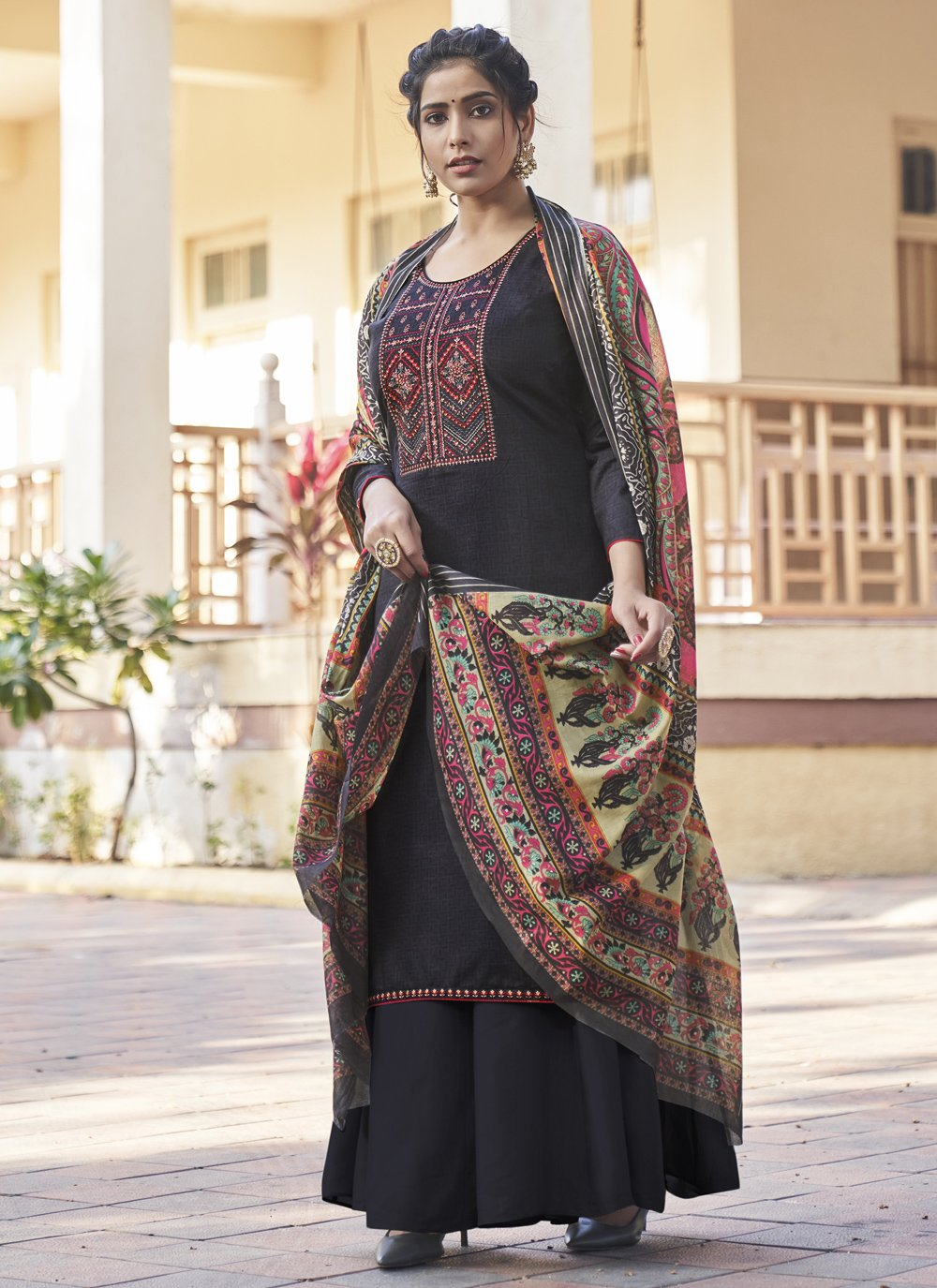 Embroidered Black Designer Pakistani Suit