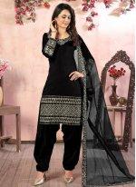 Embroidered Black Designer Patiala Suit