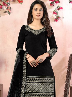 Embroidered Black Designer Patiala Suit