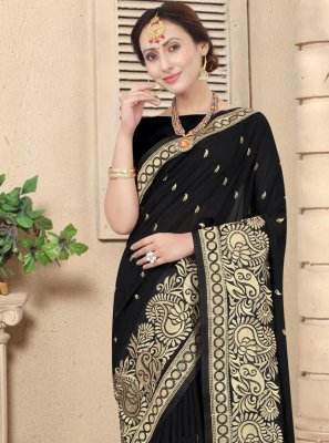 Embroidered Black Designer Traditional Saree