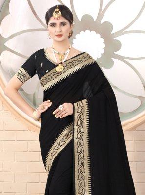 Embroidered Black Designer Traditional Saree