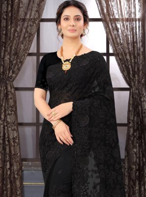 Embroidered Black Georgette Classic Designer Saree