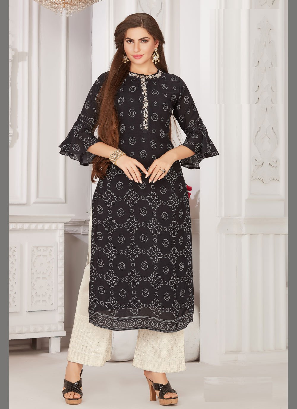 Embroidered Black Muslin Party Wear Kurti