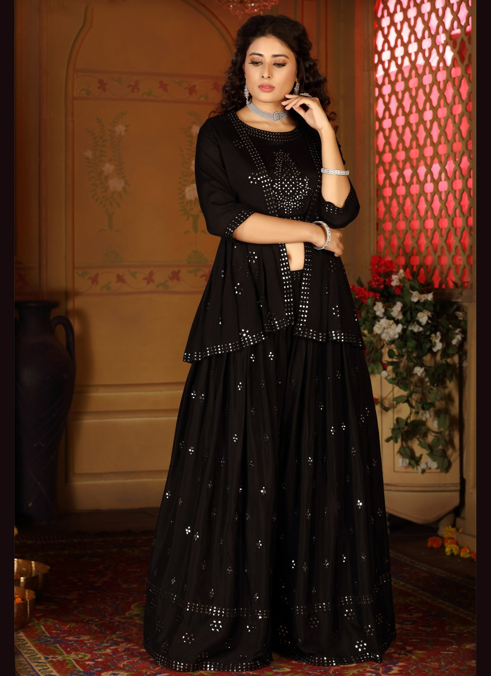 Embroidered Black Readymade Suit