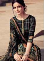 Embroidered Black Satin Designer Palazzo Salwar Kameez