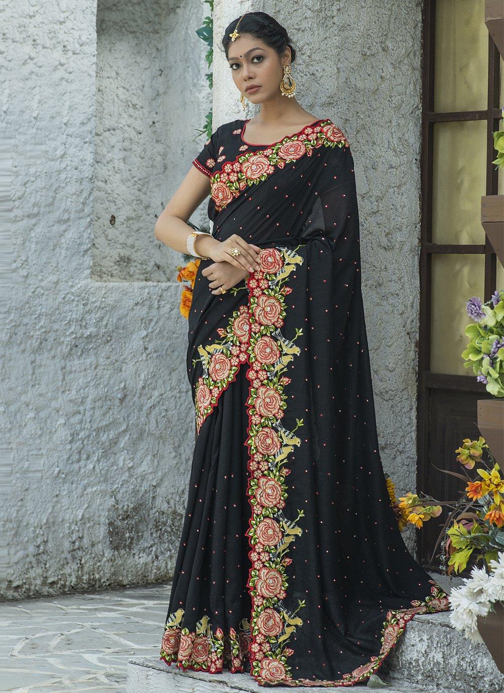 Embroidered Black Traditional Designer Saree