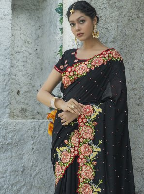 Embroidered Black Traditional Designer Saree