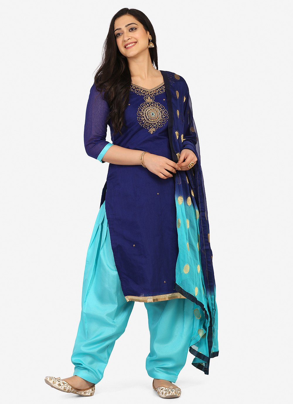 Embroidered Blended Cotton Navy Blue Patiala Suit