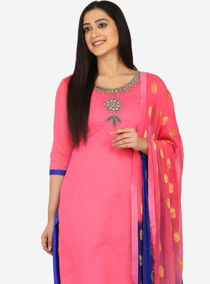Embroidered Blended Cotton Patiala Suit in Pink