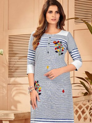 Embroidered Blue and White Party Wear Kurti
