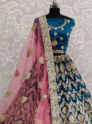 Embroidered Blue Designer Lehenga Choli