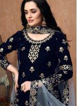 Embroidered Blue Designer Patiala Suit