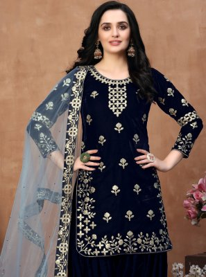 Embroidered Blue Designer Patiala Suit