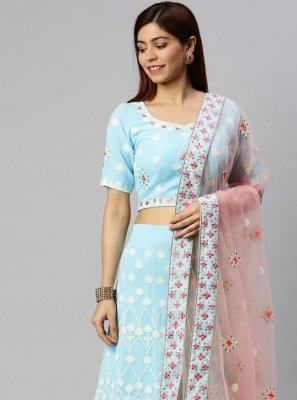 Embroidered Blue Faux Georgette Lehenga Choli