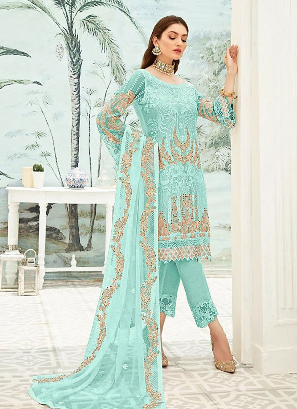 Embroidered Blue Pant Style Suit