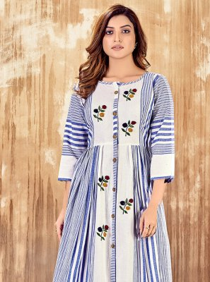 Embroidered Blue Party Wear Kurti