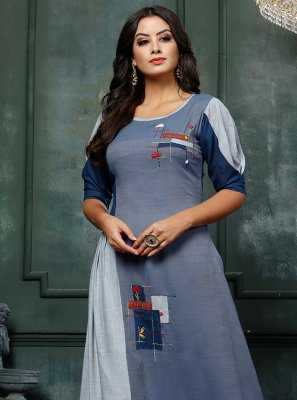 Embroidered Blue Rayon Party Wear Kurti