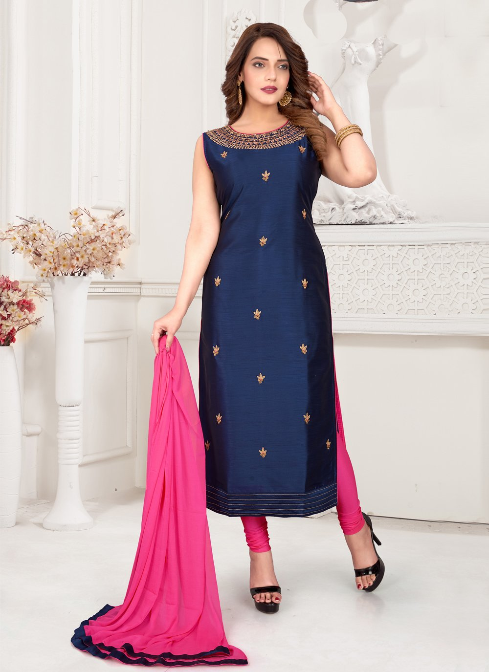 Embroidered Blue Readymade Suit