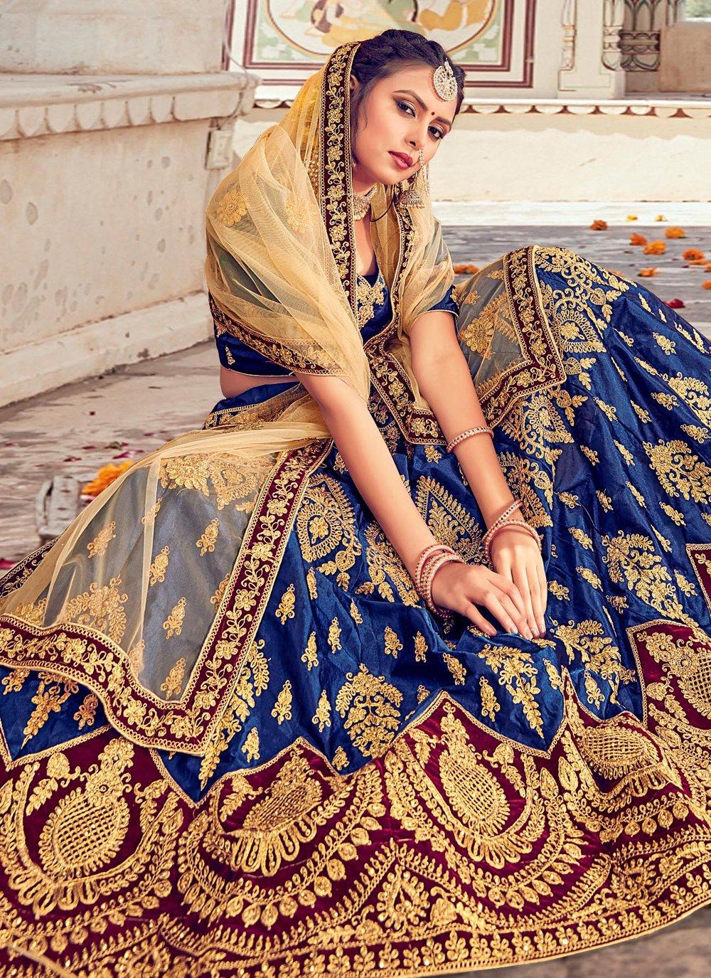 Embroidered Blue Silk Lehenga Choli