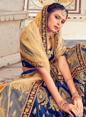 Embroidered Blue Silk Lehenga Choli