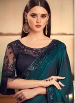 Embroidered Blue Silk Shaded Saree