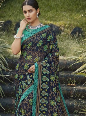 Embroidered Brasso Navy Blue Classic Designer Saree