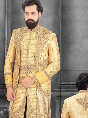 Embroidered Brocade Sherwani in Cream and Yellow