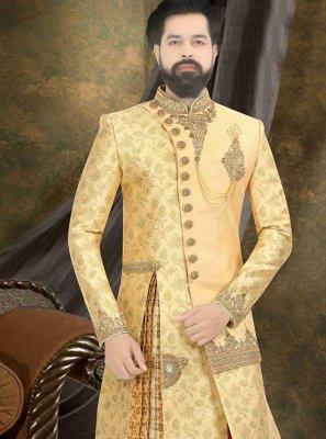 Embroidered Brocade Sherwani in Yellow