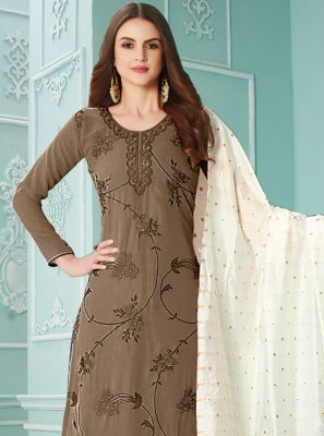 Embroidered Brown Designer Palazzo Salwar Kameez