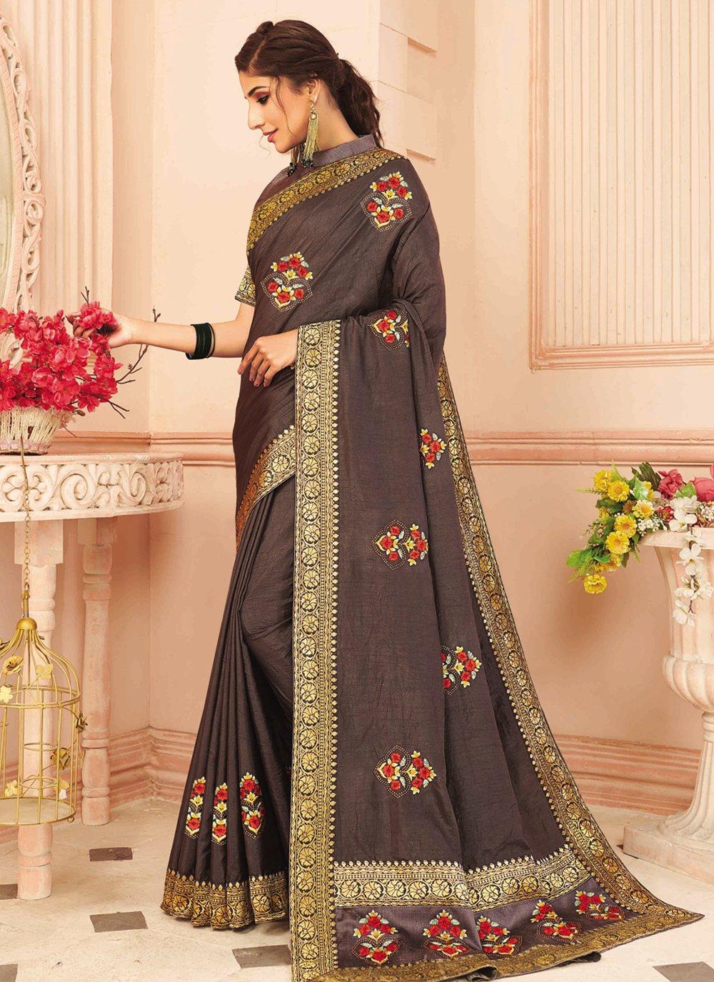 Embroidered Brown Silk Designer Traditional Saree