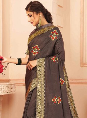 Embroidered Brown Silk Designer Traditional Saree