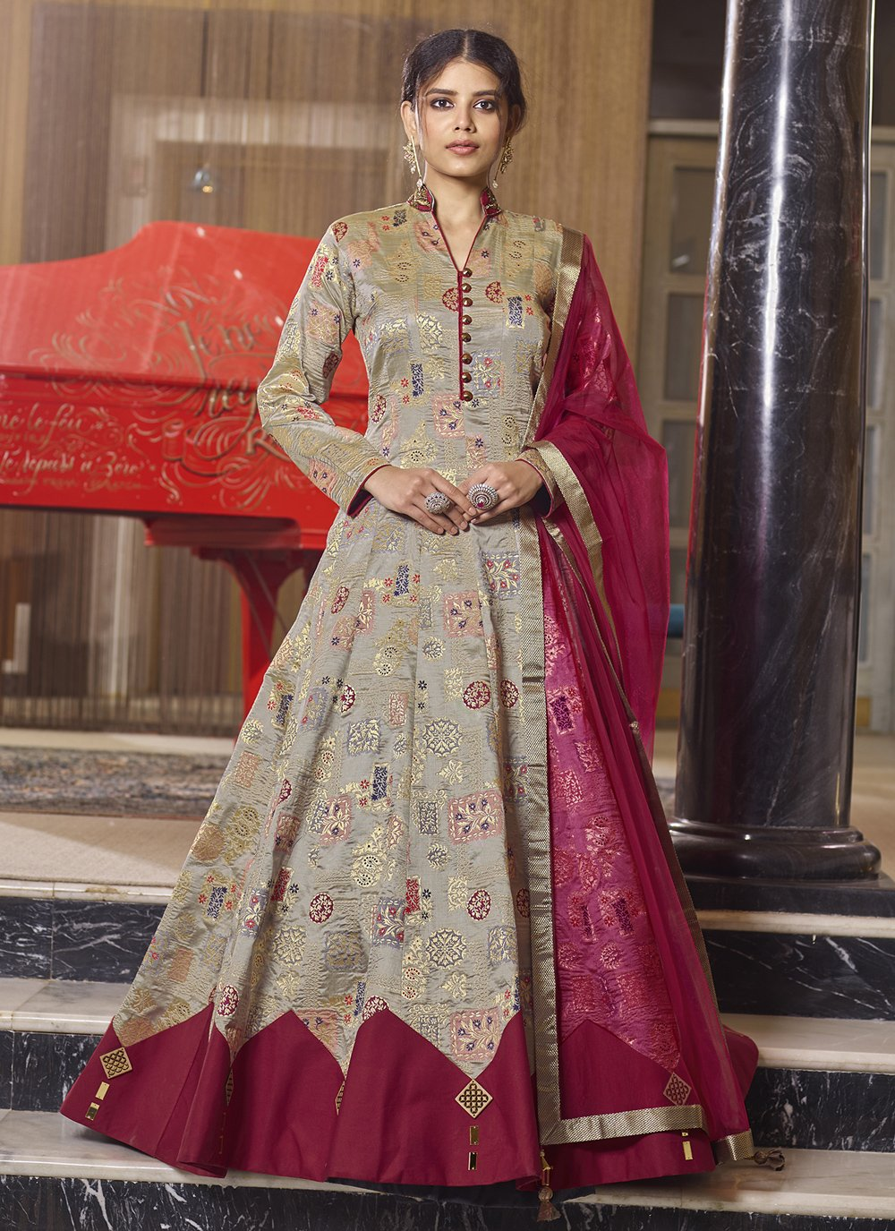Embroidered Ceremonial Readymade Anarkali Salwar Suit