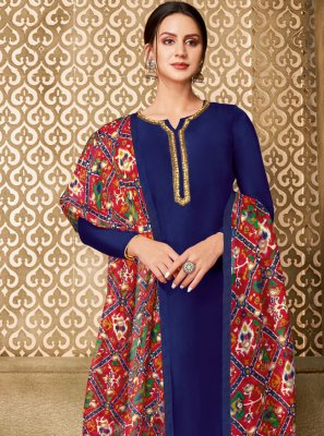 Embroidered Chanderi Cotton Churidar Designer Suit in Blue