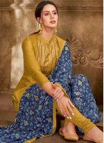 Embroidered Chanderi Cotton Churidar Suit in Green