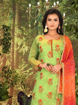 Embroidered Chanderi Green Churidar Designer Suit