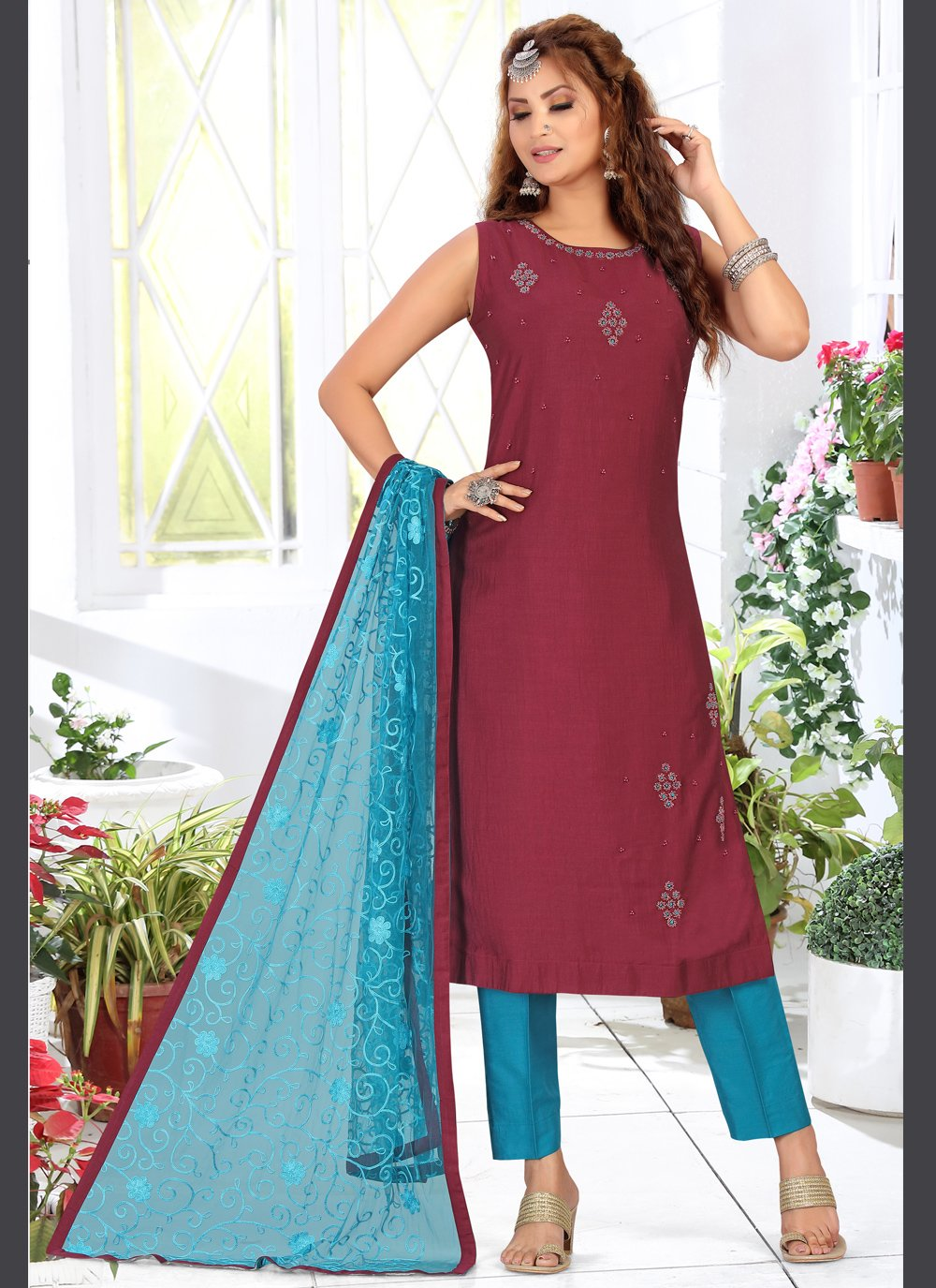Embroidered Chanderi Magenta Readymade Suit