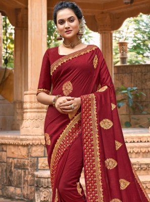 Embroidered Chanderi Maroon Traditional Saree