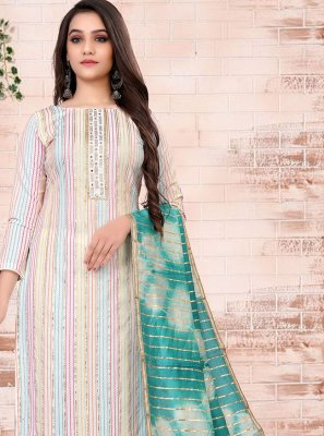 Embroidered Chanderi Off White Pant Style Suit